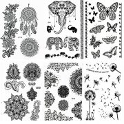 Pinkiou-Henna-Tattoo-Stickers-Lace-Mehendi-Temporary-Tattoos-for-Maverick-Women-Teens-Girls-Metallic-Tattooing-Pack-of-6-0