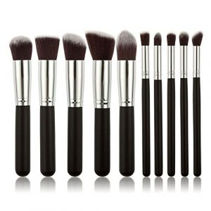 Pinkiou-10pcs-Makeup-brushes-Kit-Professional-Nylon-Hair-Make-Up-brush-set-white-wood-handle-Silver-ring-0